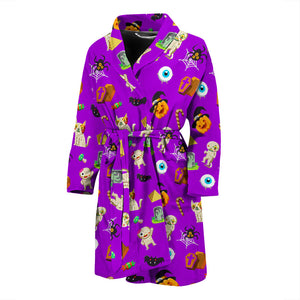 Purple Halloween Pattern Men's Bath Robe