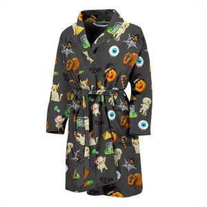 Dark Halloween Pattern Men's Bath Robe