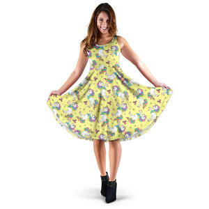 Yellow Baby Unicorns Pattern Dress