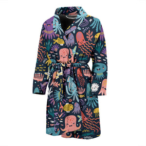 Funny Colorful Octopus Men's Bath Robe