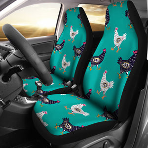 Green Cute Chicken Car Seat Covers