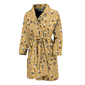 Yellow Halloween Skull Skeleton Men's Bath Robe
