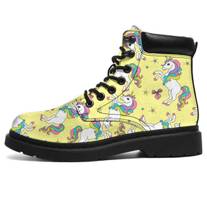 Yellow Baby Unicorns Pattern Boots