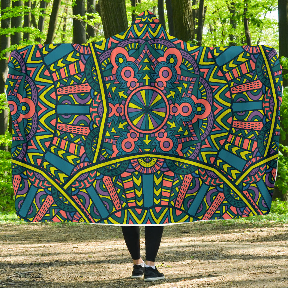 Tribal Vintage Mandala Hooded Blanket