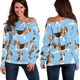 Cute Beagles On Blue Women's Off Shoulder Sweater