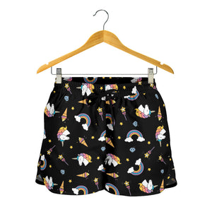 Black Magic Unicorn Rainbow Women's Shorts