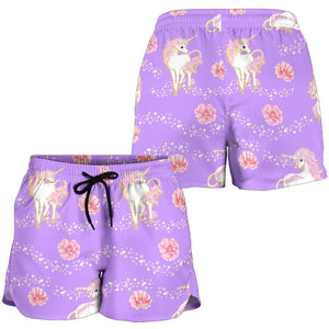 Purple Unicorn Fantsatic Flowers Women's Shorts