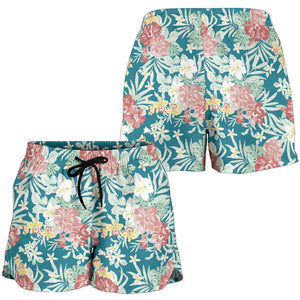 Blue Hawaiian Tropical Floral Print Women's Shorts