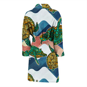 Turtle Pattern Men's Bath Robe