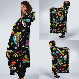 Dragonfly Colorful Black Hooded Blanket
