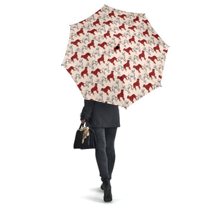 Red Irish Red Setter Pattern Umbrellas