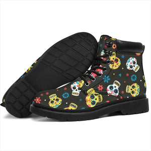 Brown Mexican Calavera Day of the Dead Skulls Boots