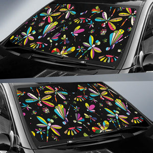 Dragonfly Colorful Black Auto Sun Shades