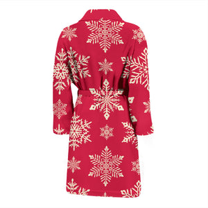 Red Snowflake Men's Bath Robe