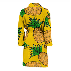 Yellow Pineapples Print Men's Bath Robe