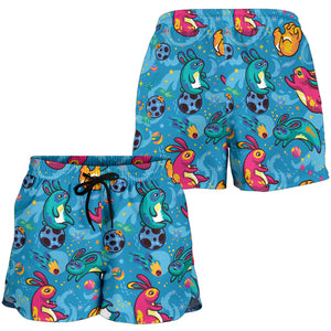 Blue Childish Kids Pattern Women's Shorts