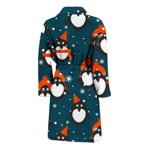 Penguins In Hats Men's Bath Robe