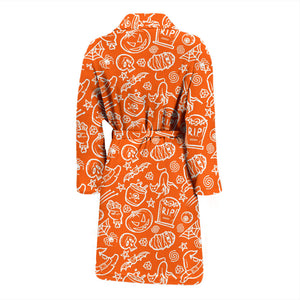 Orange Halloween Pumpkins Men's Bath Robe