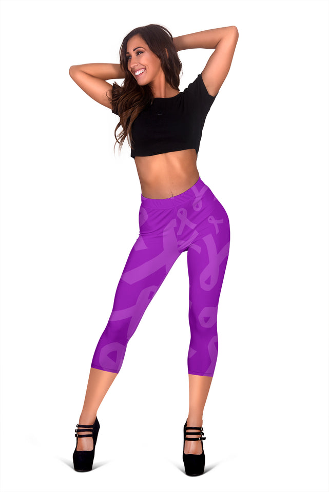 Purple Ribbon Awareness Cancer Women's Capris