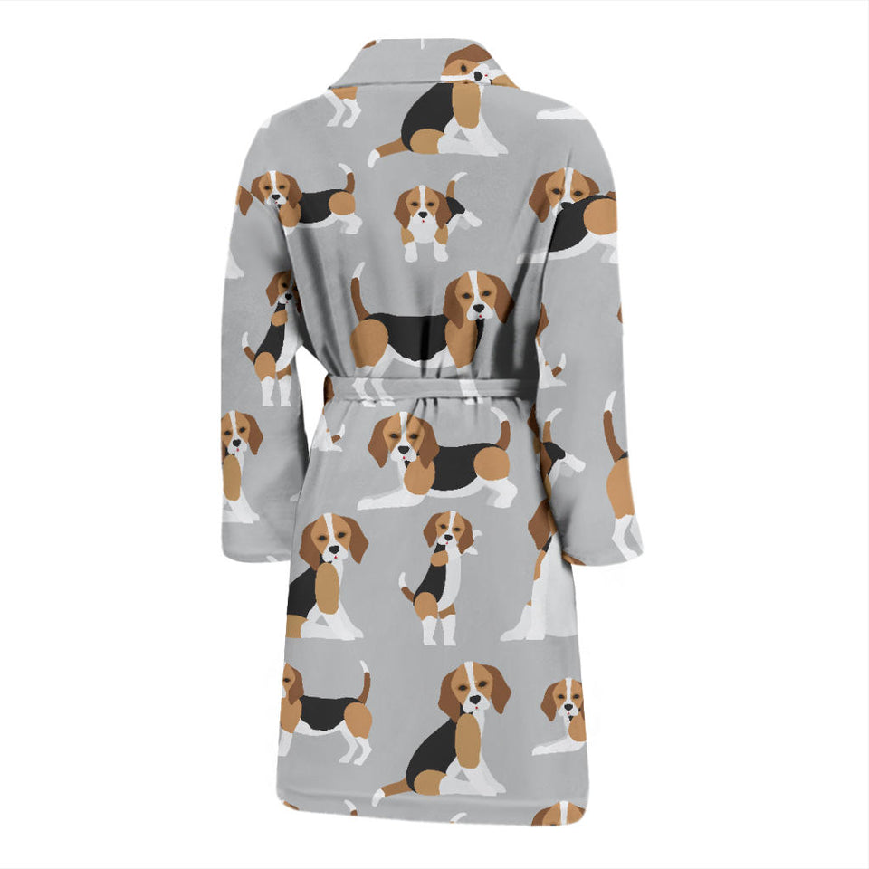 Cute Beagles On Gray Men's Bath Robe