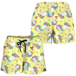 Yellow Baby Unicorns Pattern Women's Shorts