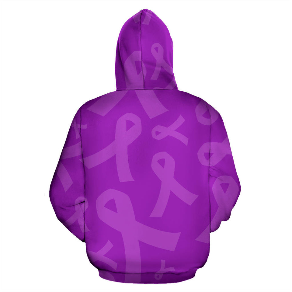 Purple Ribbon Awareness Cancer Zip-UP Hoodie