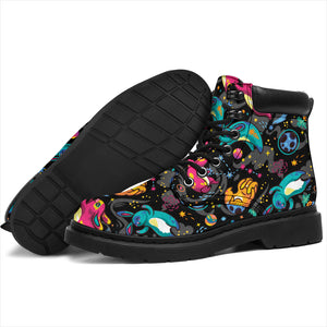 Dark Childish Kids Pattern Boots