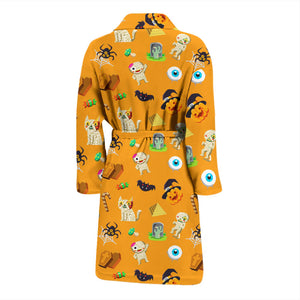 Orange Halloween Pattern Men's Bath Robe