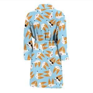 Blue Corgi Face Emoji Men's Bath Robe