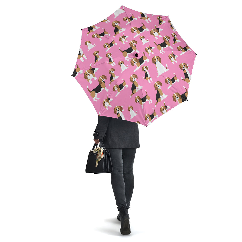 Cute Beagles On Pink Umbrellas