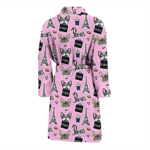 Pink French Bulldog Paris Men's Bath Robe