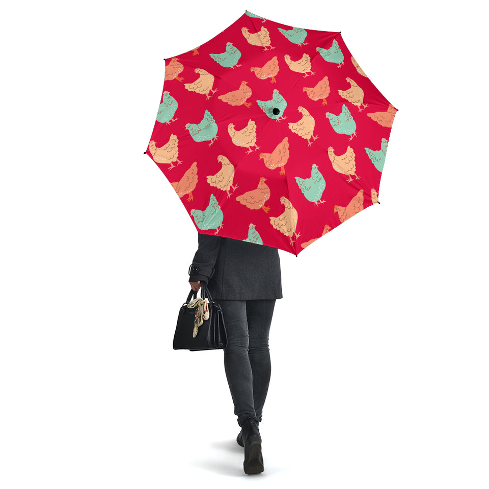 Red Vintage Chicken Umbrellas