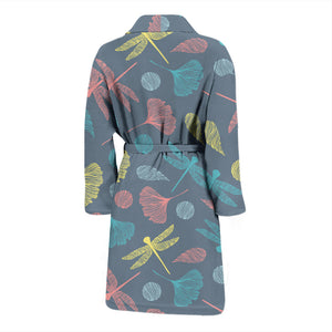 Colorful Dragonfly Ginkgo Leaves Men's Bath Robe