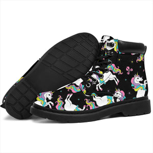 Black Baby Unicorns Pattern Boots