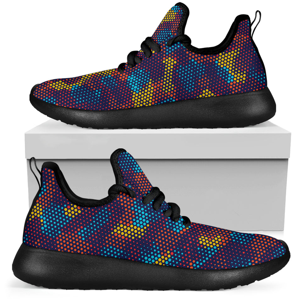 Camouflage Abstract Camo Urban Colorful Mesh Knit Sneakers