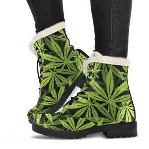 Cannabis Marijuana Weed Floral Faux Fur Leather Boots