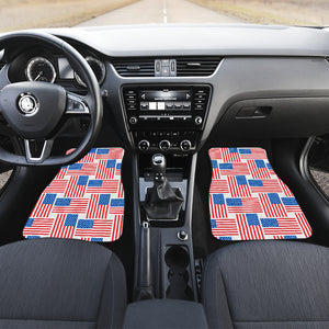 American Flag Cross Over Front And Back Car Mats (Set Of 4)