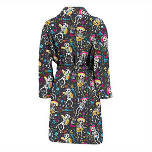 Day Of The Dead Mariachi Skeletons Men's Bath Robe