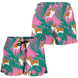 Pink Corgi Tropical Leaf Women's Shorts