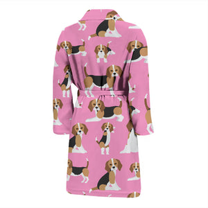 Cute Beagles On Pink Men's Bath Robe