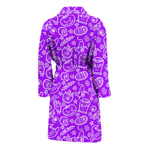 Purple Halloween Pumpkins Men's Bath Robe