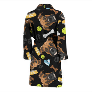 White Smiling Dog Boxer Men's Bath Robe