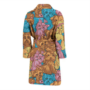 Colorful Yorkshire Terriers Men's Bath Robe