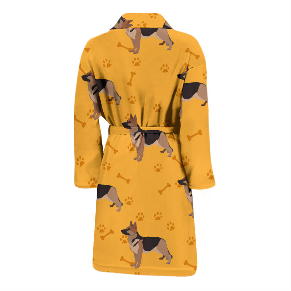 German Shepherd In Yellow Men's Bath Robe