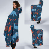 Blue Sloths Hanging Hooded Blanket