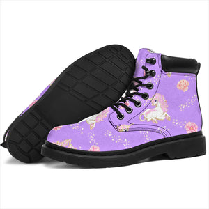 Purple Unicorn Fantsatic Flowers Boots