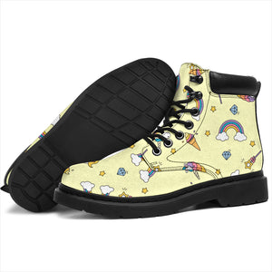 Yellow Rainbow Unicorn Boots