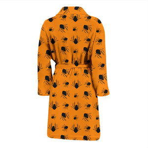 Orange Halloween Spiders Men's Bath Robe