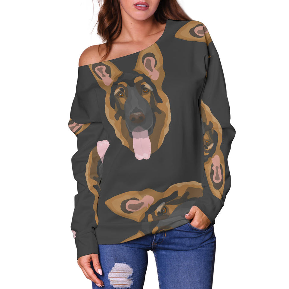 Cute German Shepherd Women's Off Shoulder Sweater