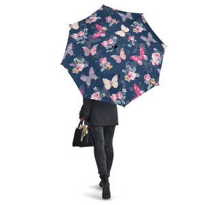 Rose Butterfly Navy Umbrellas